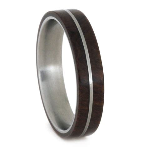 wedding bands wood wood wedding band titanium pinstripe on ironwood ring