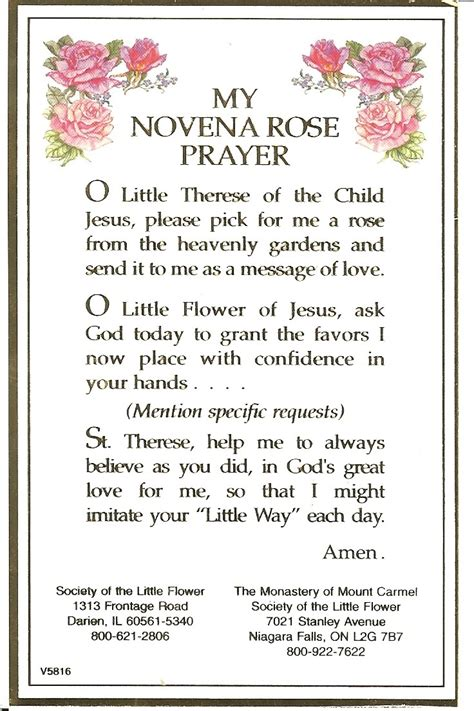 st novena a shower of roses st therese