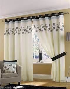 cream black curtains cream black silver lined ring top eyelet voile curtains 46