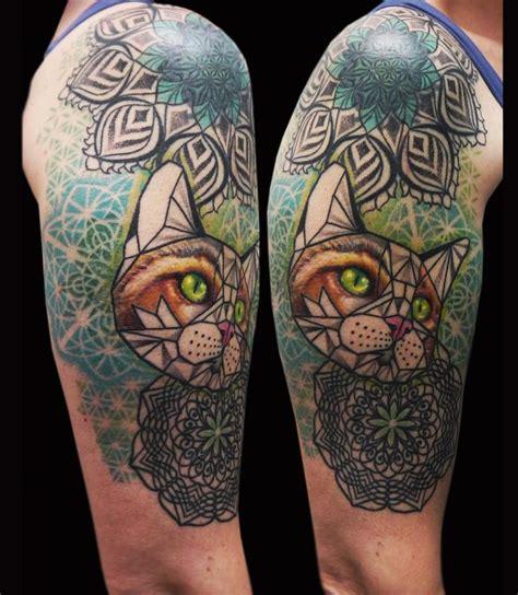 tattoo mandala cat geometric cat mandala tattoo by obi tattoonow