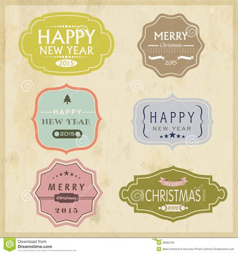 new year label vector and new year 2015 celebration vintage label or