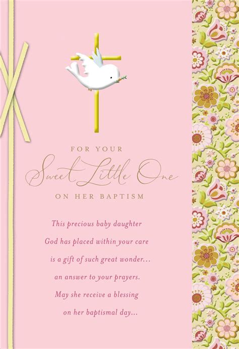 dove  gold cross baby girl baptism card greeting cards hallmark