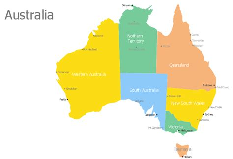 australia map with countries and capitals continent australia map map