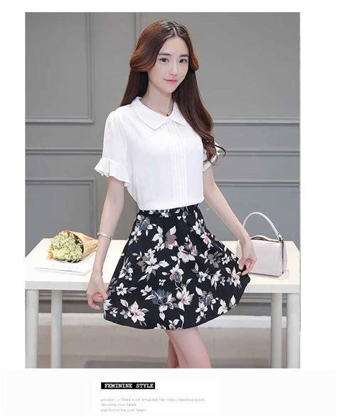 baju setelan rok putih hitam terbaru toko baju wanita murah goldendragonshop