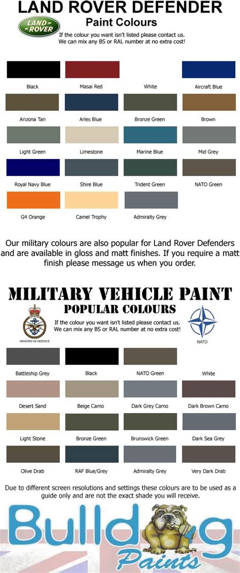land rover defender paint colours chart search adds paint colour charts