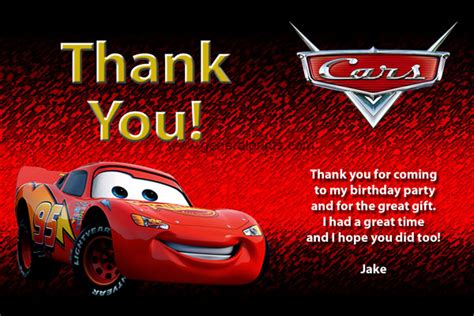 automobile thank you card template free disney cars invitations custom personalized printable