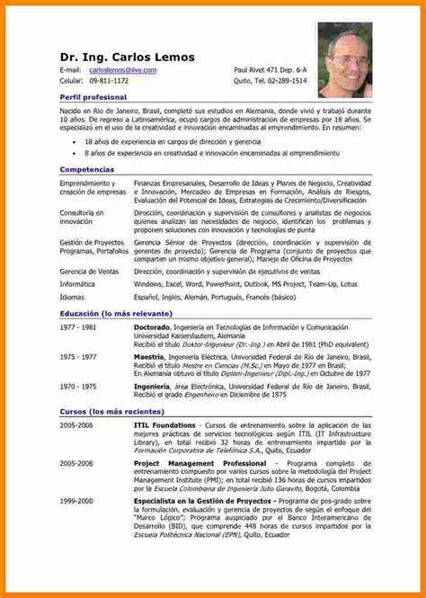 Resume En Español by 7 Curriculum Vitae Ejemplo Espa 195 177 Ol Theorynpractice