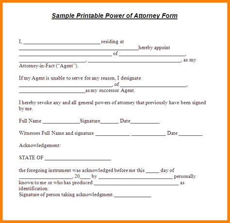 8 free printable general power of attorney ledger paper