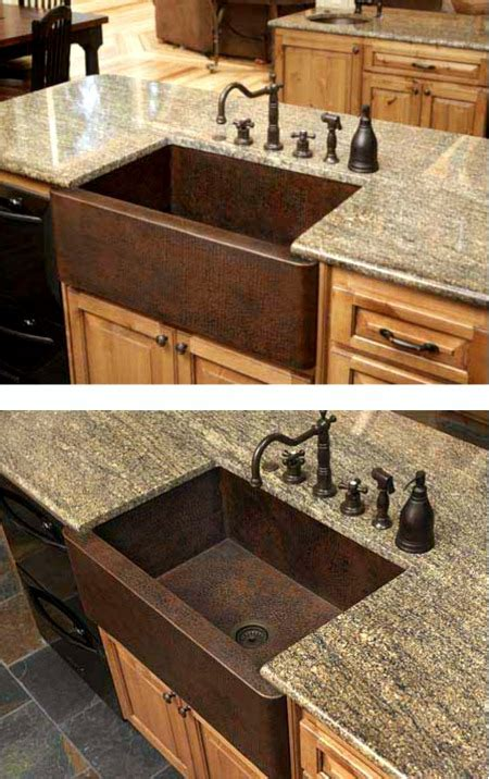19x33 Kitchen Sink Chocolate Brown With Copper Kitchen Sink Granite Kitchen Island Granite Undermount Sinks