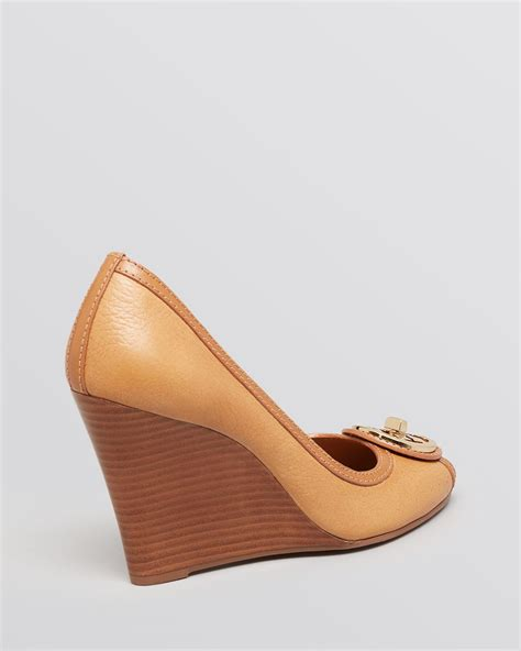 Selma Wedges Beige Moka lyst burch selma peep toe wedge pumps in