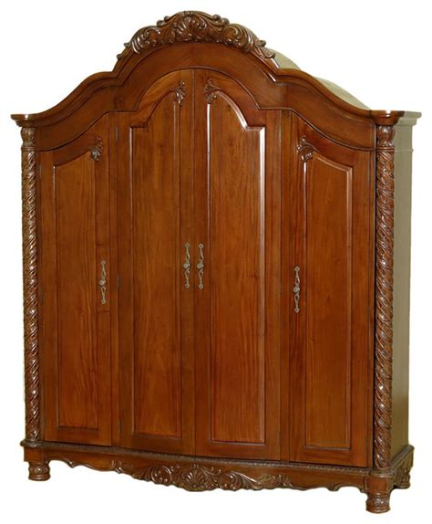 Large Armoire Wardrobe Large Solid Mahogany 4 Door Armoire Wardrobe Closet