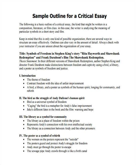 Basic Theme Outline by Marvelous Exle Of Thesis Outline Image For 26 Exles Of Essay Outlines Proyectoportal