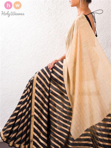 Murah Silk Lipstick black beige muga silk kadhuan brocade saree holyweaves