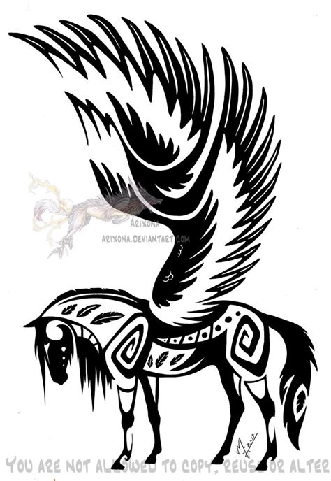 winged tribal horse by arixona on deviantart