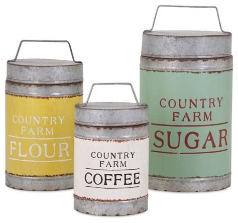 country canisters for kitchen country farm lidded galvanized canisters set of 3