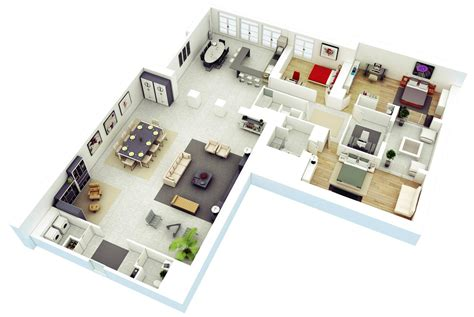 Home Design 3d L Shaped Room | 25 more 3 bedroom 3d floor plans