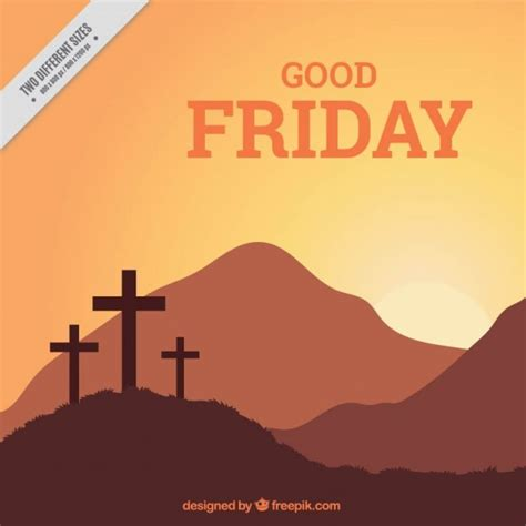friday crosses and landscape background vector free