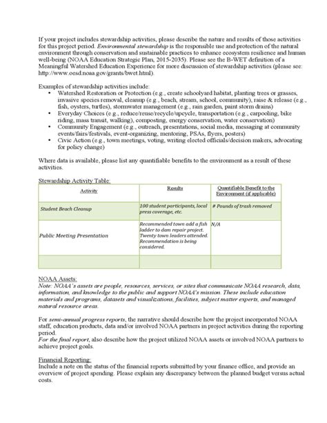 Progress Report Template Noaa Free Download Conservation Report Template