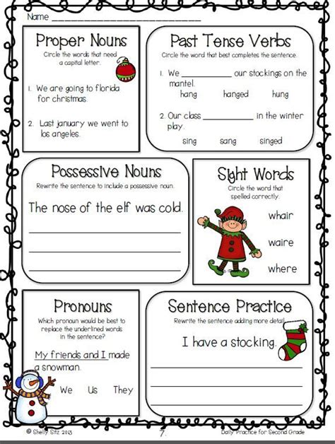2nd grade grammar christmas daily practice for second grade december