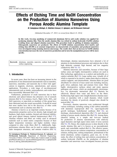 Pdf Effects Of Etching Time And Naoh Concentration On The Production Of Alumina Nanowires Porous Alumina Template