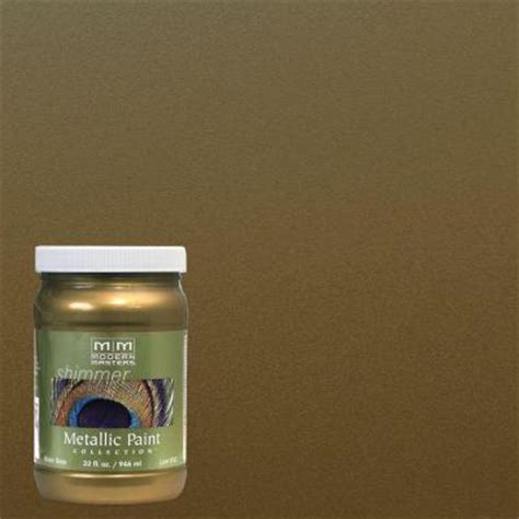 Metallic Gold Interior Paint by Modern Masters 1 Qt Green Gold Metallic Interior Exterior Paint Me23032 The Home Depot