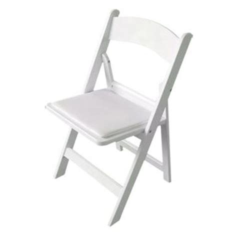 White resin folding chair padded sd party rentals
