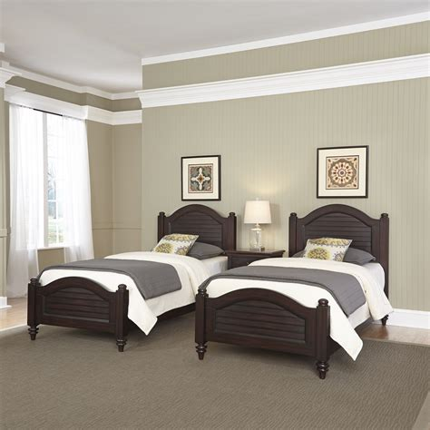 bedroom with two beds home styles bermuda espresso two twin beds and night stand
