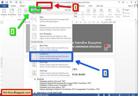 cara membuat penomoran halaman pada ms word 2010 langkah membuat halaman pada microsoft word cara membuat