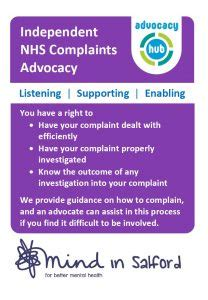 Nhs Complaints by Independent Nhs Complaints Advocacy Mind In Salford Mind