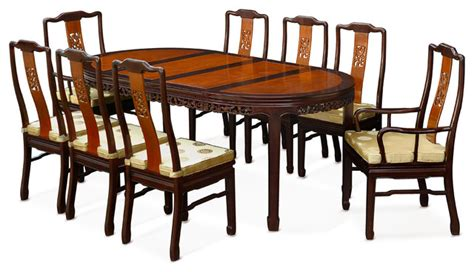 Japanese Dining Table Set 80 Quot Rosewood Flower Oval Dining Table With 8 Chairs Asian Dining Sets By China Furniture