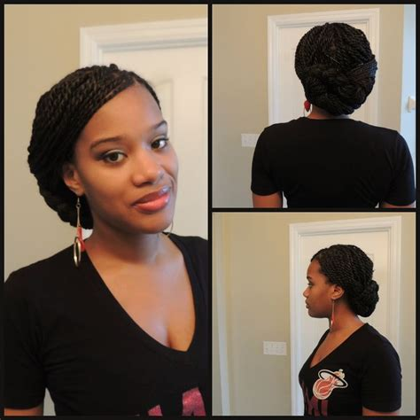 senegalese twist briaded low bun braids and senegalese