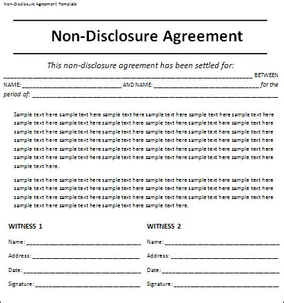 non disclosure agreement word template agreement templates free word s templates part 2
