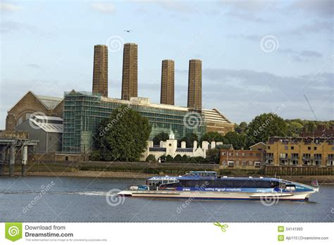 thames river taxi timetable battersea power station editorial stock photo image