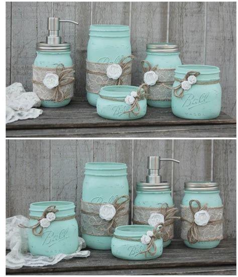 Mason jar bathroom set mint green shabby chic soap dispenser bathroom jars 5 piece burlap