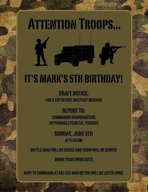 Army Birthday Card Template by Printable Free Army Birthday Invitation