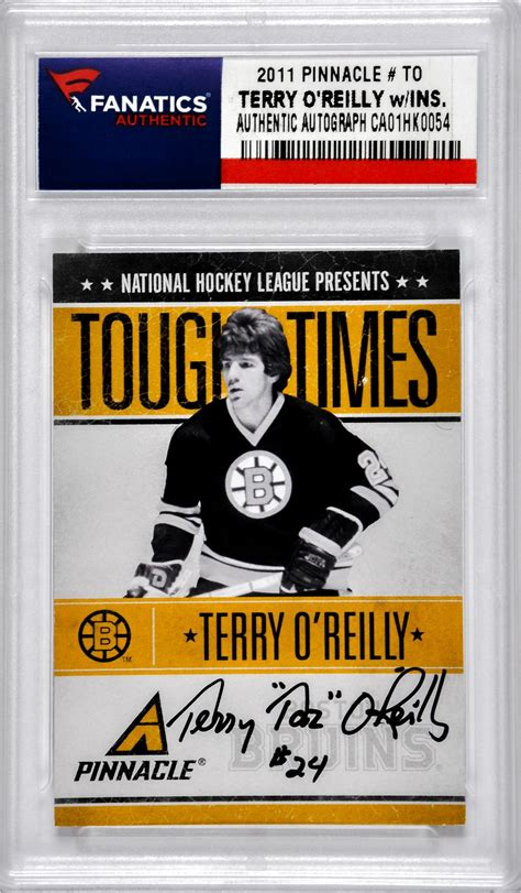 O Reilly Gift Card - terry o reilly hockey slabbed autographed cards