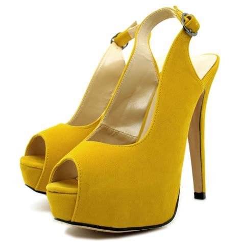 yellow shoes suede style slingback stiletto heel platform peep toe