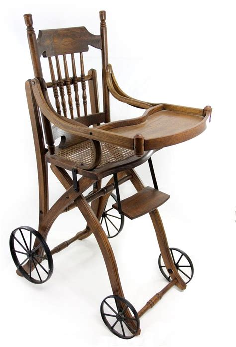 Antique Stroller High Chair by 1910s Antique Oak High Chair And Stroller
