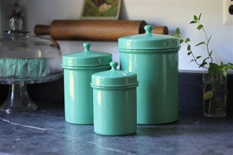 teal kitchen canisters enamelware kitchen canisters jade green set of 3
