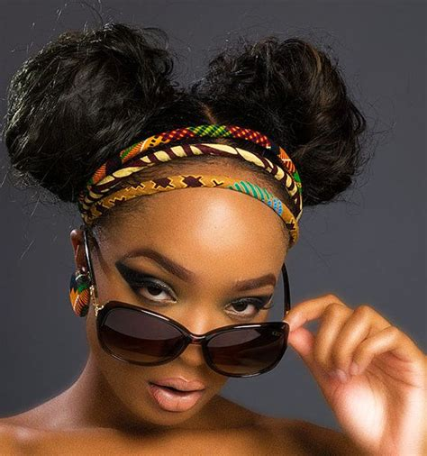 African American Braids With Bun With Headbands | kente and african wax print headband african by