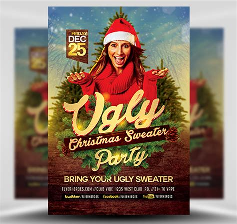 Ugly Sweater Christmas Flyer Template Flyerheroes Sweater Flyer Template