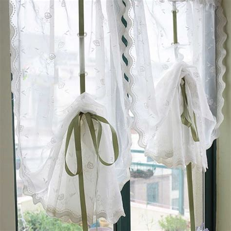pull up drapes rose embroidery sheer pull up curtain