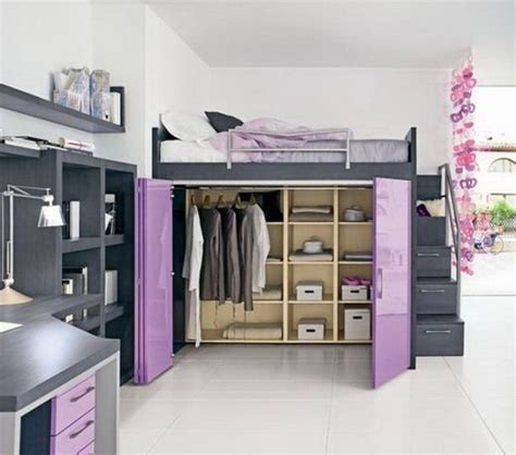 Loft Bed With Closet And Desk by Purple And Gray Loft Bed Great Idea For A Small Space