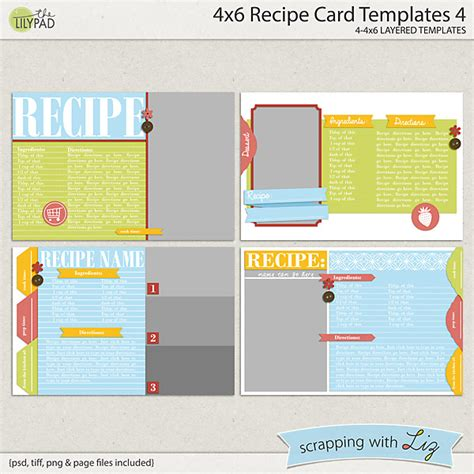 4 by 6 card template digital scrapbook templates 4x6 recipe card 4