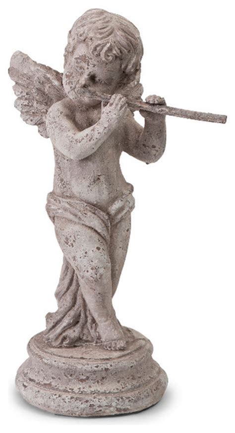 Home Decor Statues Flute Figurine White Finish Antique Statue Home Decor Traditional Garden Statues