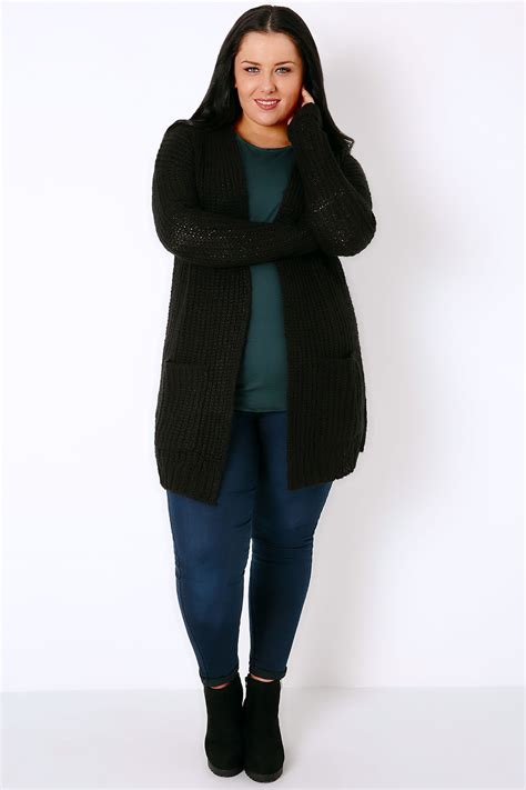 plus size knit with pockets black longline chunky knit cardigan with pockets plus