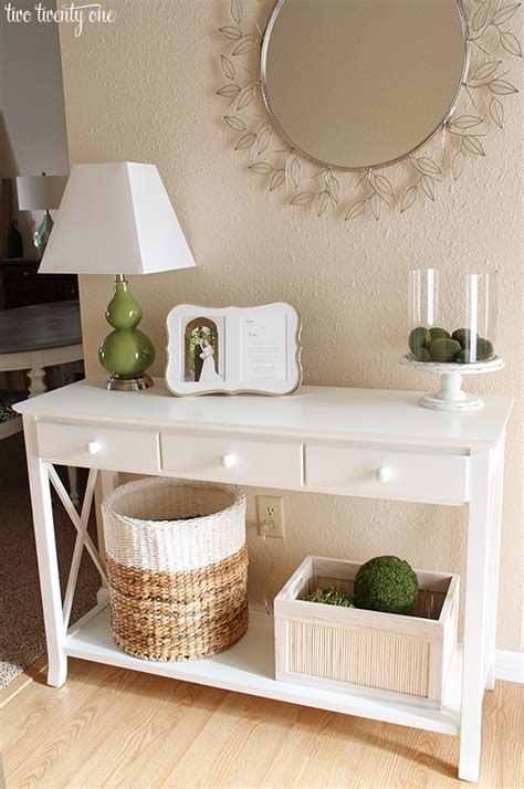 fixer foyer neutral entryway table vignette