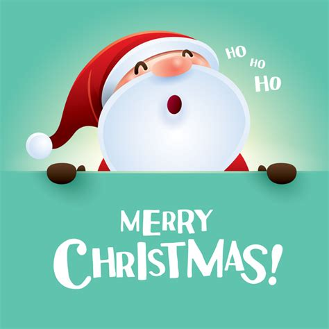 merry christmas postercard  santa cute vector