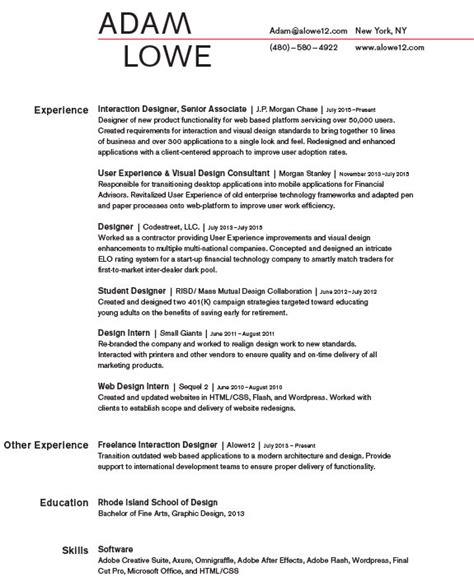 resume adam lowe design