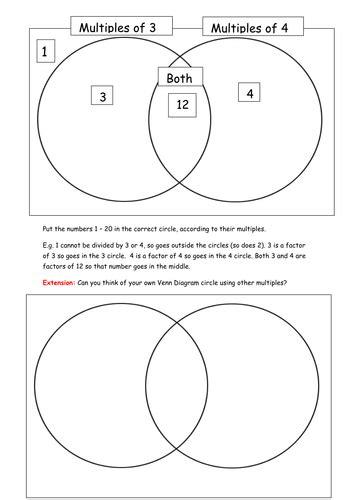 multiples venn diagram worksheet multiples homework using a venn diagram by frabjousday teaching resources tes